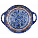 "Pottery Avenue 12.5"" BLUE PANSY Handled Serving Tray 