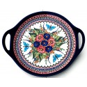 "Polish Pottery BUTTERFLY MERRY MAKING 12.5"" Round Stoneware Handled Platter 