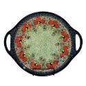 "Polish Pottery CHAMPAGNE 12.5"" Round Stoneware Handled Platter | ARTISAN"