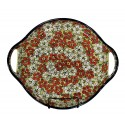 "Polish Pottery RED BACOPA 12.5"" Round Stoneware Handled Platter 