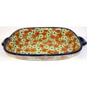 "Polish Pottery RED BACOPA 14"" Stoneware Baking-Roasting Dish 