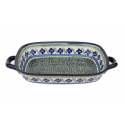 "Polish Pottery FLORAL ROYAL 14"" Stoneware Baking-Roasting Dish 
