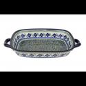 "Polish Pottery FLORAL ROYAL 14"" Stoneware Baking-Roasting Dish | ARTISAN"