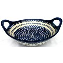 "Polish Pottery FLOWERING PEACOCK 13"" Stoneware Handled Baker-Serving Bowl 