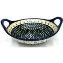 "Polish Pottery DROPS OF JOY 13"" Stoneware Handled Baker-Serving Bowl 