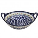"Polish Pottery CARIBOU LODGE 13"" Stoneware Handled Baker-Serving Bowl 