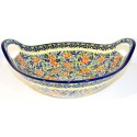 "Polish Pottery BLISS 13"" Handled Stoneware Baker-Serving Bowl 
