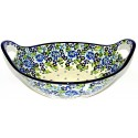 "Polish Pottery TRUE BLUES 13"" Handled Stoneware Baker-Serving Bowl 