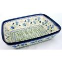 "Polish Pottery BLUE TULIP 10"" Rectangular Stoneware Baker | UNIKAT"