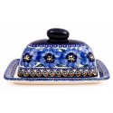 Polish Pottery BLUE PANSY 2-Piece Covered Stoneware Butter Dish | UNIKAT