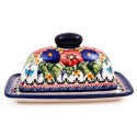 Polish Pottery BUTTERFLY MERRY MAKING 2-Piece Covered Stoneware Butter Dish | UNIKAT
