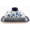 Polish Pottery BLUE TULIP 2-Piece Covered Stoneware Butter Dish   UNIKAT