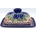 Polish Pottery STRAWBERRY BUTTERFLY 2-Piece Covered Stoneware Butter Dish | UNIKAT