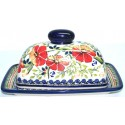 Polish Pottery LOVE BLOSSOMS Covered Butter Dish | EX UNIKAT