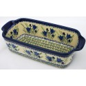 Polish Pottery 5 Cup BLUE TULIP Stoneware Loaf Pan | UNIKAT