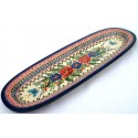 "Polish Pottery BUTTERFLY MERRY MAKING 17.5"" Baguette Stoneware Platter 