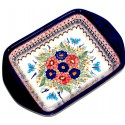 "Polish Pottery BUTTERFLY MERRY MAKING 12"" Stoneware Handled Rectangular Baker 