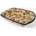 "Polish Pottery 14"" RED BACOPA Stoneware Baking Dish 