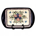 "Polish Pottery BUTTERFLY MERRY MAKING 16"" Stoneware Handled Rectangular Baker 