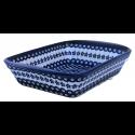"Polish Pottery FLOWERING PEACOCK 16"" Stoneware Handled Rectangular Baker | CLASSIC"