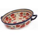 "Polish Pottery LOVE BLOSSOMS 10"" Handled Round Stoneware Baker | EX-UNIKAT"