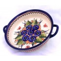 "Polish Pottery STRAWBERRY BUTTERFLY 10"" Handled Round Stoneware Baker 
