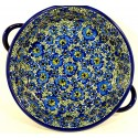 "Pottery Avenue 10"" BLUE LAGOON Handled Round Baker | UNIKAT"