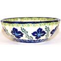 "Polish Pottery FLORAL ROYAL 5"" Scalloped Stoneware Bowl | ARTISAN"
