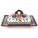 Polish Pottery BUTTERFLY MERRYMAKING Covered Stoneware Butter Dish | UNIKAT
