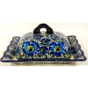 Polish Pottery BLUE LAGOON Covered Stoneware Butter Dish | UNIKAT