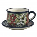 Polish Pottery RED BACOPA 6.7-oz Stoneware Cup & Saucer Set | UNIKAT