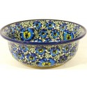 POLISH POTTERY BLUE LAGOON FLARED TOP BOWL | UNIKAT