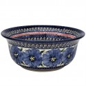 Polish Pottery BLUE PANSY 61-oz Flared Top Stoneware Bowl | UNIKAT
