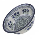 "Polish Pottery BLUE TULIPS 10"" Stoneware All Purpose Baker-Serving Bowl 