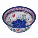 Polish Pottery STRAWBERRY BUTTERFLY 61-oz Flared Top Stoneware Bowl | UNIKAT