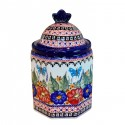 "Polish Pottery BUTTERFLY MERRY MAKING 7.5"" Imperial Stoneware Canister 4.5 Cup 