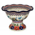Polish Pottery BUTTERFLY MERRY MAKING Stoneware Pedestal Bowl | UNIKAT