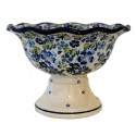 Polish Pottery TRUE BLUES Stoneware Pedestal Bowl | ARTISAN