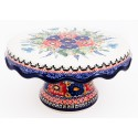 Polish Pottery Stoneware Pedestal Cake Plate| BUTTERFLY MERRYMAKING
