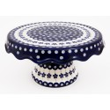 Polish Pottery Stoneware Pedestal Cake Plate| FLOWERING PEACOCK