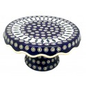 Polish Pottery Eye of Peacock Pedestal Cake Plate | CLASSIC