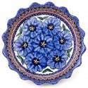 "Polish Pottery BLUE PANSY 6.6"" Fancy Rim Stoneware Pie Dish 