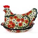 Polish Pottery RED BACOPA 2-Piece 1.5-Liter Hen Stoneware Casserole | UNIKAT