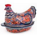 Polish Pottery 1.5L CHERISHED FRIENDS Hen baked casserole | UNIKAT