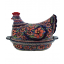 Polish Pottery 1.5L CHERISHED FRIENDS Hen Covered Casserole | UNIKAT