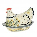 Polish Pottery WISH 1.5L Hen Covered Stoneware Casserole | ARTISAN