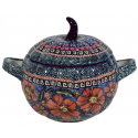 Polish Pottery CHERISHED FRIENDS 2-Cup Pumpkin Stoneware Canister-Mini Tureen | UNIKAT