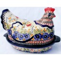 Polish Pottery 1.5L STRAWBERRY BUTTERFLIES Hen baked casserole | UNIKAT