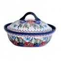 Polish Pottery BUTTERFLY MERRY MAKING 1.5-Liter Covered Stoneware Casserole | UNIKAT