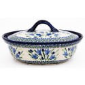 Polish Pottery BLUE TULIP 1.5-Liter Covered Stoneware Casserole | UNIKAT